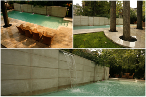 a three-picture collage of Groupe Paramount's work done on a Nun's Island backyard, which includes a high stone wall with integrated water fountains, and a large terrace surrounding the yard's existing mature trees.