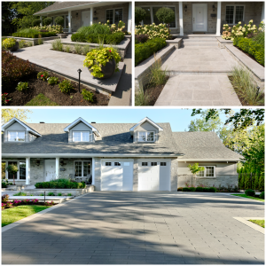 A front yard makeover created by Groupe Paramount, featuring Techo Bloc stone and St. Marc natural stone