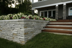 Beaconsfield Home's Retaining wall and Brazilion Walnut Stairs